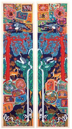 대한민국민화공모대전 - 김종관 - 고운꿈 십장생 Korean Illustration, Illustration Art, Japanese Poster Design, Korean Painting, Art Template, Korean Art, Japan Art, Chinese Art, Traditional Art