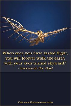 When once you have tasted flight, you will forever walk the earth with your eyes turned skyward. – Leonardo Da Vinci