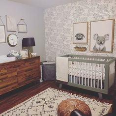 This gender neutral animal nursery is seriously chic! What's your fave part? Koala Nursery, Safari Nursery, Nursery Themes, Nursery Room, Nursery Decor, Nursery Dresser, Baby Animal Nursery, Themed Nursery, Nursery Ideas