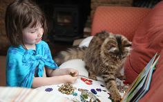 Works by Iris Grace Halmshaw sell for as much as £1,500. The five year old   artist who was diagnosed with autism at the age of two has found fresh   inspiration in new best friend Thula the cat.