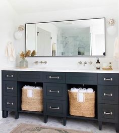 Double Bathroom Vanity Designs Ideas - If area licenses, two sink locations supply excellent comfort in common restrooms. Find ideas for bathroom vanities with double the area, ... #doublebathroomvanity #bathroomideas #doublesinkbathroomvanityforsale