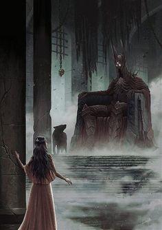 Beren and Luthien arrive at the throne of Morgoth - The Silmarillion - J. (Beren e Luthien chegam ao trono de Morgoth - O Silma. The Throne Of Morgoth Jrr Tolkien, Dark Fantasy, Fantasy Art, Das Silmarillion, Elfen Fantasy, Morgoth, Necromancer, Paladin, Luthien