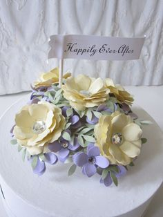 Wedding Cake Topper with handmade paper flowers.