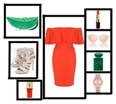"""""""red dress, green leaf"""" by elisbartosi ❤ liked on Polyvore featuring Kate Spade, Jane Norman, Carvela, Bobbi Brown Cosmetics, Armani Beauty, Michael Kors, Yves Saint Laurent, Summer, red and GREEN"""