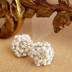 "Wedding Pearl Post Earrings / Lace Bridal Jewelry / Ivory Pearls, Vintage Rhinestones /  ""Matilda"" on Etsy"