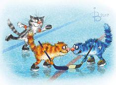 Открытки Ирины Зенюк/ Postcards by Irina Zeniuk/ Открытки для посткроссинга/ Postcards for postcrossing/ Acards.by/ Синие коты / Хоккей/ Blue cats/ Hockey