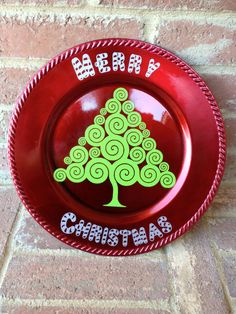 Merry Christmas charger plate by ABlockAway on Etsy,