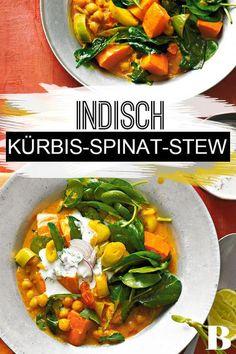 Kürbis-Spinat-Stew mit Raita. Indien grü�t sü�-scharf-sauer: Gemüse und Kichererbsen in Curry-Kokos-So�e mit einem Klecks Raita, fein gewürztem Joghurt. #indisch #eintopf #spinat #kürbis #vegetarisch Indian Food Recipes, Ethnic Recipes, Thai Red Curry, Food Inspiration, Vegan, Indian, Coconut Yogurt, Stew, Spinach