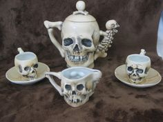 Supposedly Rare Antique Late 1800's SKULLS Fine Porcelain Teapot Tea Cup Saucer & Creamer