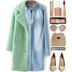 Bleached Denim Dress by grozdana-v on Polyvore featuring polyvore, fashion, style, WithChic, Kurt Geiger, Tuscany Leather, Marc by Marc Jacobs, Hourglass Cosmetics, Dolce&Gabbana and Essie