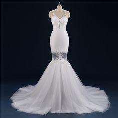 Sexy Mermaid Wedding Dresses Long Appliqued Backless Boho Wedding Gown Detachable Train Beach Vestido De Noiva 2017 LL12