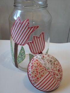 Pote de vidro patchwork em tecido
