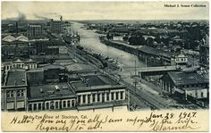 Birds Eye View of Stockton, California. Image taken 1905-1906. The Port of Stockton is still a major shipping point for agricultural products from the Central San Joaquin Valley.