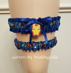 Iron Man Bridal Garter Set, Superhero Wedding Garter, Wedding Garter Belt, Marvel Comic Wedding, Avengers Bridal Garter, Super Hero wedding by Weddingzilla on Etsy