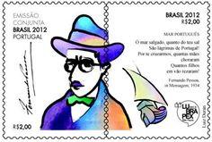 Selo com Fernando Pessoa que marcou o início do ano de Portugal no Brasil, em 2012.