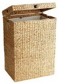 White washed rattan storage basket baskets boxes etc for Pier one laundry hamper