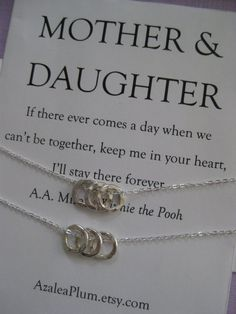 Mother Daughter Jewelry. Mother Daughter Necklace  Simple, dainty and organic looking hand hammered fine silver Eternity Cirle charms.  A set of 2 necklaces for the love between Mother and Daughters! $85 AzaleaPlum.etsy.com