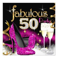 Shop Fabulous Party Glitter Hot Pink Champagne Invitation created by Zizzago. Personalize it with photos & text or purchase as is! Classy Birthday Party, 50th Party, 60th Birthday Party, Birthday Woman, Birthday Ideas, Happy Birthday, Champagne Birthday, Champagne Party, Pink Champagne