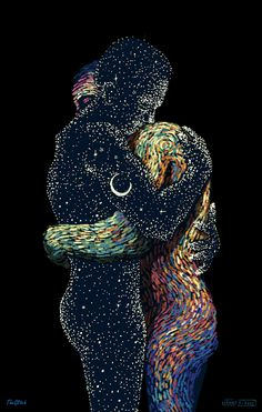like old friends meeting, or the dawn breaking into the night, a thousand years of darkness and then a flicker of light. art by james r eads, motion by the glitch
