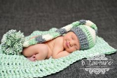 Smiling Newborn Baby Boy, Mint and Grey, Modern Baby Photography