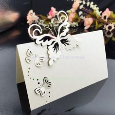 2017 Wedding Supplies 100pcs/pack Pierced Laser Cut Butterfly  Wedding Party Table Name Place Cards Wedding Invitations 6Z-CD045 #Affiliate