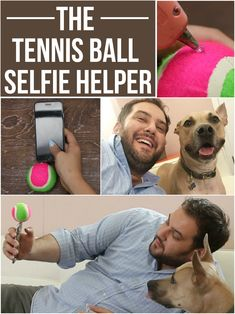 Get your dog's attention with this tennis ball selfie helper