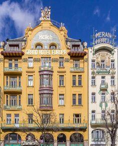 Art Nouveu hotels at Wenceslas Square, Prague, Czechia