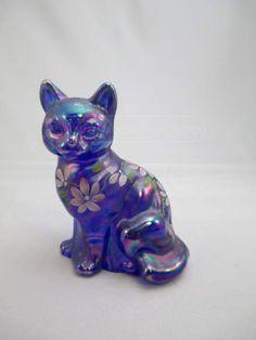 Fenton Cobalt Blue Carnival Glass Painted Cat