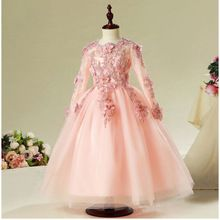 2017 New Fashion Flower Lace Beading long sleeves Flower Girl Dresses For Wedding(China)