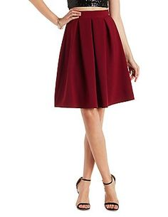 Pleated Midi Skater Skirt: Charlotte Russe