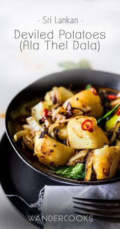 This Sri Lankan Deviled Potatoes recipe features Kestrel Potatoes and lashings of flavour from curry leaves, turmeric, chilli & onion. Yum! via @wandercooks