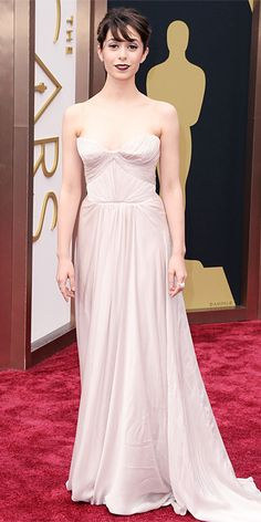 LIGHT DRESS... DARK LIPS -MAP Oscars 2014 Red Carpet Arrivals - Cristin Milotti from #InStyle