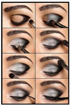 Dark Silver Smokey Eye make-up