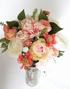 Flower Wedding Bridal Bridesmaid Bouquet Blush Peach Oramgge Peonies Coral Ranunculus Garden Roses Keepsake Rustic Garden Bouquet