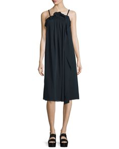 Silk Picot-Trim Shift Dress, Phantom Blue - 3.1 Phillip Lim