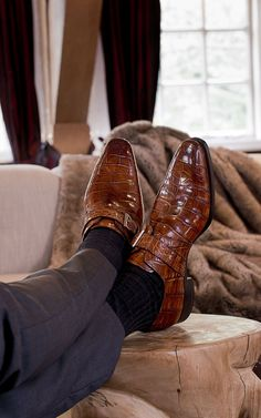 Alligator monkstraps by Heeren Shoes & Shirts