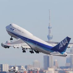 ANA Boeing 747 taking off
