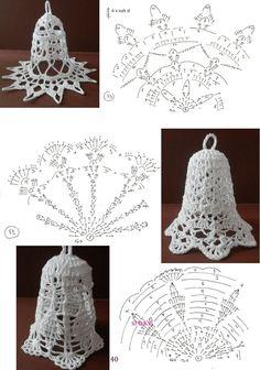 Crochet Christmas Decorations, Christmas Crochet Patterns, Christmas Baubles, Christmas Crafts, Crochet Lamp, Crochet Doilies, Crochet Flowers, Christmas Tags Printable, Crochet Diagram