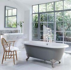 A timeless classic – a deep Victorian double ended roll top clawfoot tub  #30daysofBathtubs #freestanding #bathtubs #victorian #clawfoot #bathtubdeals #bathroomideas #luxuryhomes #bathdecor #showeressentials #spalike #luxury #interiors #interiorinspiration #whitedecor #dropinbathtub #interiordesign #homegram #instahome #homestyle #interiorwarrior #interior4all #bathroomdecor #bathroomdesign