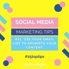 Social Media Marketing Tips: #21 Use Your Email List To Promote Your Content  Promoting your content to your email list is a great way to drive targeted traffic!  So do you want to learn how to Crush it on Instagram?  Imagine adding an easy 5-10 leads per day to your business with Instagram... for  FREE! GO HERE: http://ift.tt/2lfqjlv  Double Tap & TAG a friend if you like these awesome tips!  Want to learn more about How I help Home Business Owners Generate Leads and Income Online or fancy…