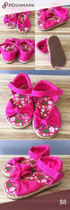 Pink floral strapy sandals Pink floral strapy baby girl sandals. Perfect condition. There is some glue on the tip of the left sandal, manufacturers flaw. Soles of the shoes are in perfect condition. Shoes Sandals & Flip Flops