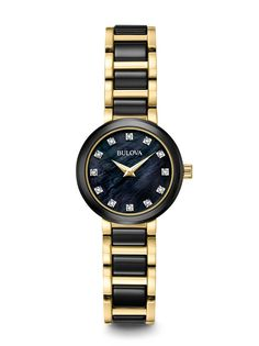 Bulova Women's Diamond Watch 98P159 with 12 diamonds individually hand set on jet black mother-of-pearl dial in a black and gold case.