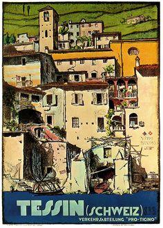 Vintage Travel Poster -  Tessin - Switzerland - 1927.