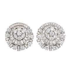 Jewelry Earrings - A pair of diamond earrings of circular radiating design with cluster centers, in platinum., E-G color, VVS-VS clarity. Diamond Jewelry, Gold Jewelry, Diamond Earrings, Fine Jewelry, Diamond Necklaces, Sterling Jewelry, Diamond Stud, Jewelry Rings, Sterling Silver