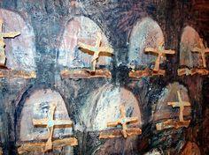 SOLD - Sine Nomine II detail, Encaustic and copper crosses on board, Roberto Paulet Board Art, Crosses, Painting & Drawing, Saatchi Art, Original Paintings, Objects, Copper, Art Prints, Stone
