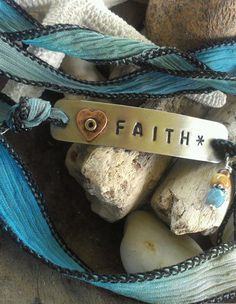 Hand Stamped Faith Silk Ribbon Bracelet Boho Chic by WittnWhimsy1, $20.00