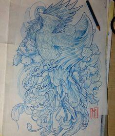""""""" Artwork by: Jaromir Mucowski Location: Gdynia, Poland Artist's IG: Tattoo Sketches, Tattoo Drawings, Body Art Tattoos, Sleeve Tattoos, Liverbird Tattoo, Tattoo Expo, Ear Tattoos, Yakuza Tattoo, Phoenix Drawing"""