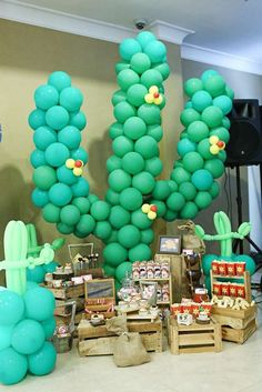 Cool cactus at a cowboy birthday party! Great idea, and the kids will love it!