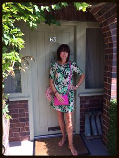 Colour clashing with a simple shift dress & cross body bag. Full details including where to shop my style at www.mymidlifefashion.com