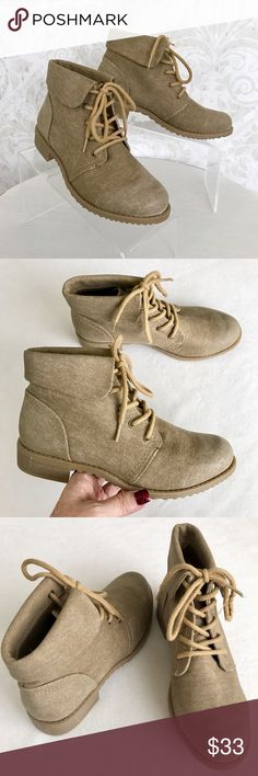 """Cliffs tan """"linen"""" lace-up combat boots I ❤❤❤ these so much! Tan """"linen"""" fabric uppers with burnished toes. Fold-over cuff at ankle. Lace-up with tan laces. Tan lug sole with stacked 1"""" heel. NWT; never worn. Cliffs by White Mountain Shoes Combat & Moto Boots"""
